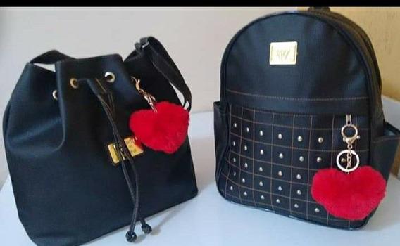 Kit Com 2 Bolsas Femininas Em Couro Sintético