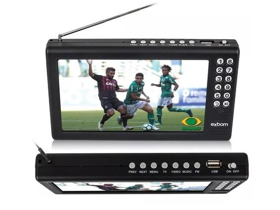 Tv Tela 7 Hd Portátil C/ Bateria Usb Rádio Fm Mp3 Av Digital