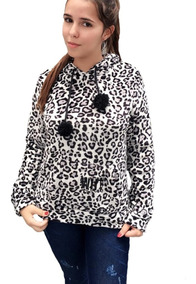Blusa De Frio Feminina Pelinho Pelúcia Capuz Paris Animal
