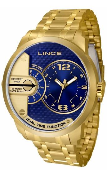 Relogio Lince Masculino Mrgh049s D2kx Dourado Azul Aço