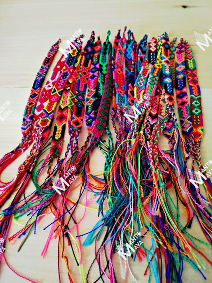Paquete 100 Pulseras Artesanales Mexicana Bordado De Chiapas
