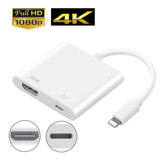 Adaptador Cabo Lightning Digital Av Tv Hdmi Com Porta Carreg