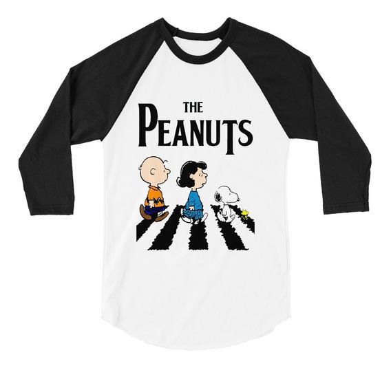 Playera Raglan 3/4 Snoopy The Peanuts The Beatles