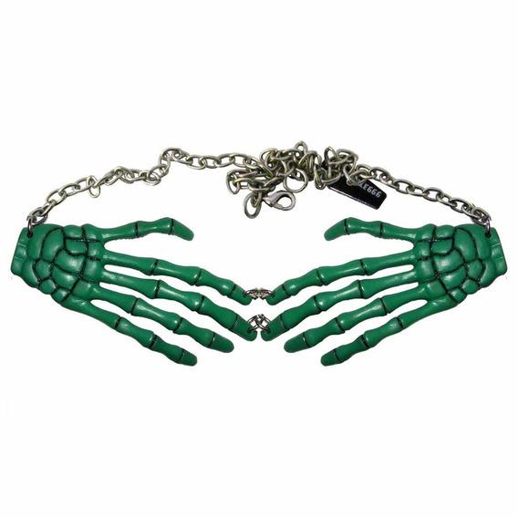 Collar Manos Esqueleto Verdes Gotico Misfits Kreeps038 Punk