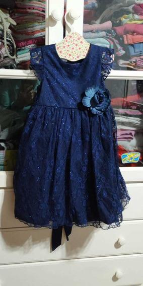 Vestido De Fiesta Nena De Encaje Azul Oscuro. Talle 2 Nuevo!