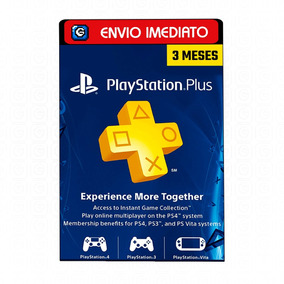 Playstation Network Store Cartão Psn Plus 3 Meses Us Ps3 Ps4