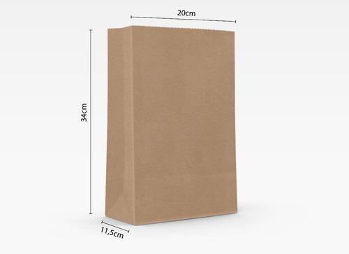 250 Sacos Kraft Delivery Liso  - 20cm X 11,5cm X 34cm