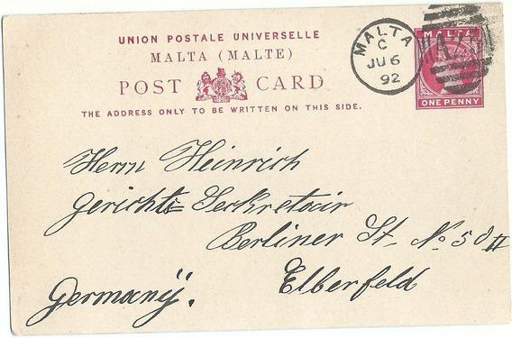 Malta Tarjeta Postal Circulada Alemania 1892 Historia Postal