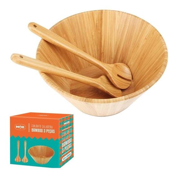 Conjunto Saladeira Garfo E Colher Bamboo 3 Peças - Mor