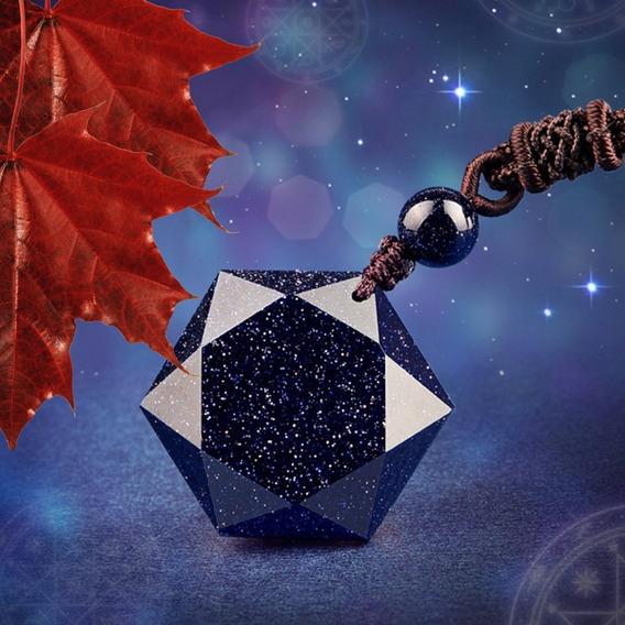 Colar Masculino Hexagrama Estrela Azul Pedra Natural Macramê