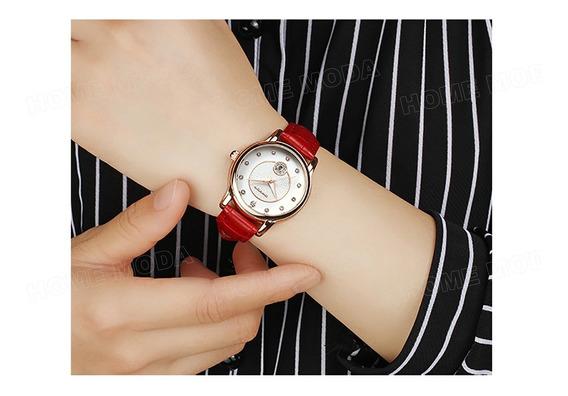 Relógio Casual Elegante Importado Luxo Feminino Cor Vermelho