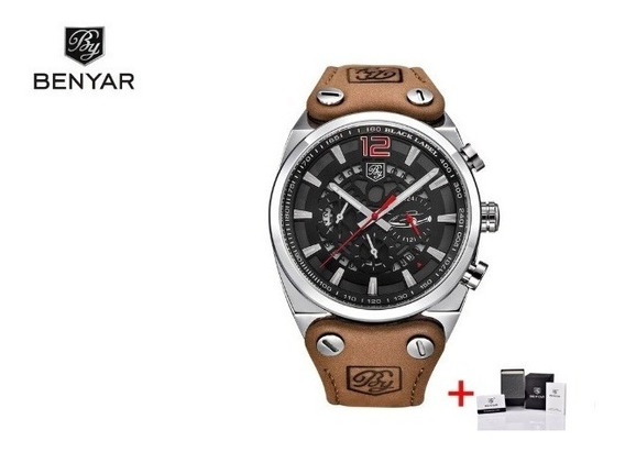 Relógio Benyar Com Detalhes Vermelho Pronta Entrega
