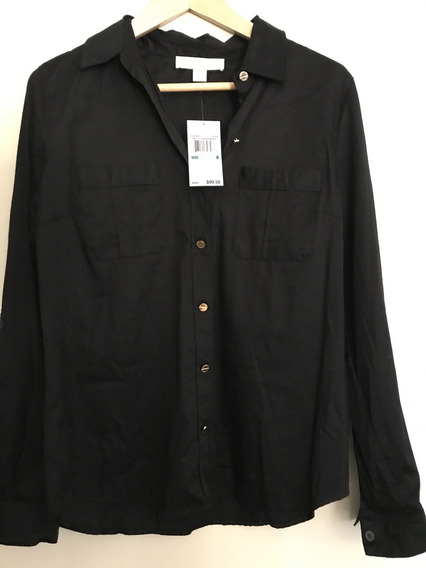 Camisa Social Feminina Michael Kors Original Preta