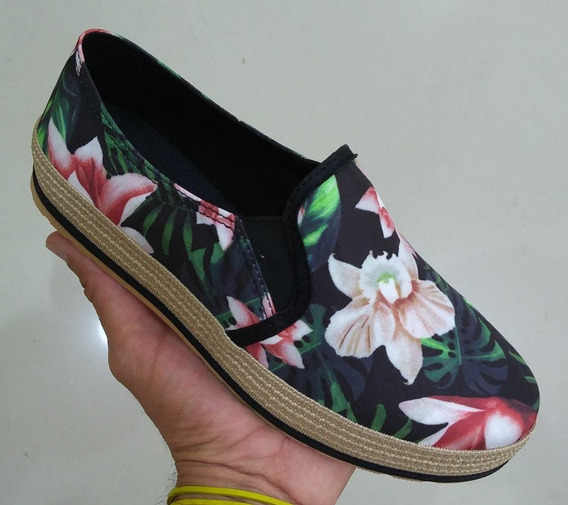 Tenis Casual Feminino Slip On Floral Ml 07