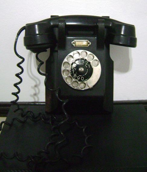 Antiguo Teléfono Baquelita Ericsson 1931 Con Ficha Moderna