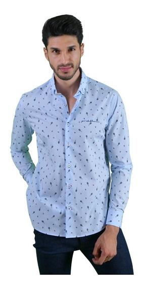 Camisa Casual Hombre Portoblanco Algodón Azul Cielo