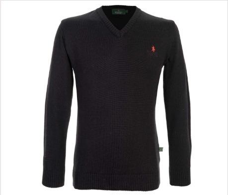 Suéter Polo Negro Para Hombre