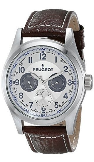Reloj Para Hombre Peugeot 2028 Con Correa De Cuero Marron
