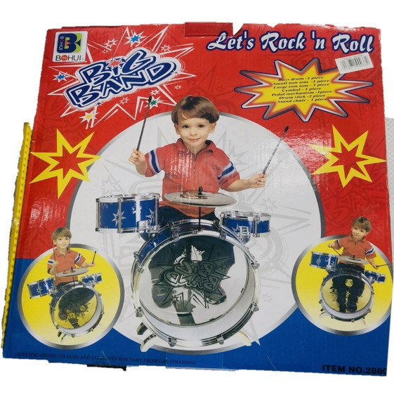 Bateria Musical Infantil C/ Banquinho Tambor Pedal Baquetas