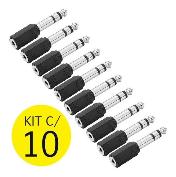 Kit C/ 10 Plug Adaptador P2 / P10 Estéreo Conector Fone