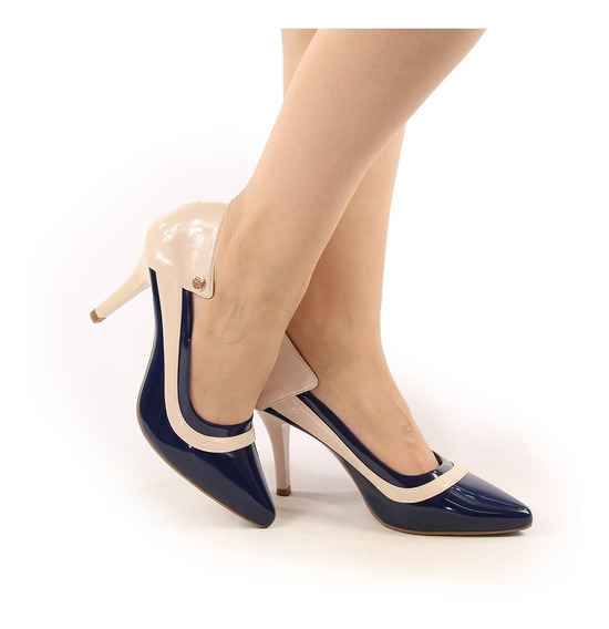 Sapato Scarpin Feminino Nude Salto Baixo Festa Casamento