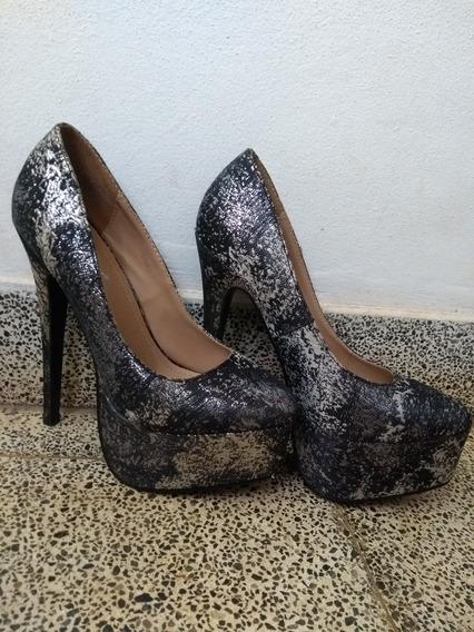 Zapato Negro Y Plateado