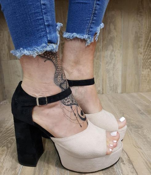 Sandalia 1649 Taco Alto Plataforma Zapato Mujer Stampa Woman