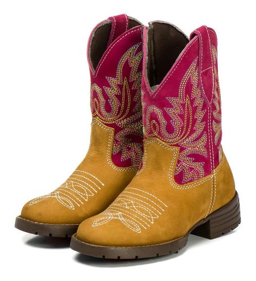 Bota Country Texana Infantil Rosa Pink 100% Couro Menina