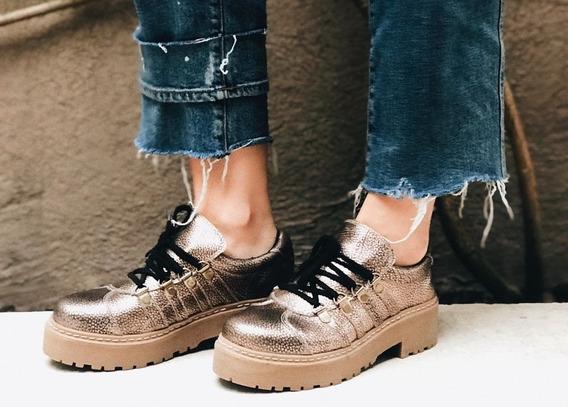 Zapato Metalizao Cuero Cobre