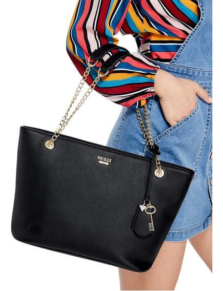 Bolsa Guess Original Negra Con Cadena Dorada Tote