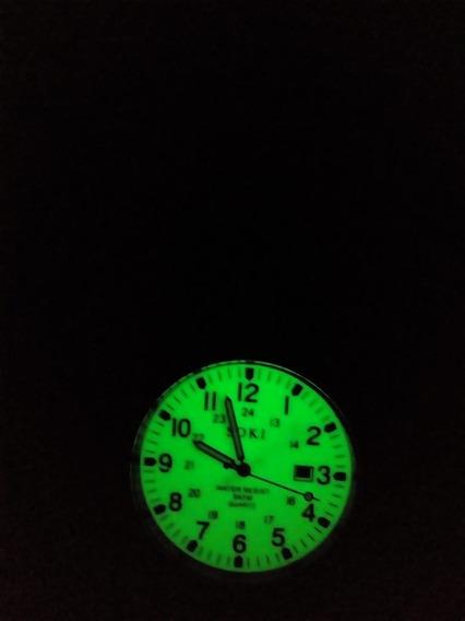 Reloj Militar Acero Cuarzo Marca Soki Verde Luminoso