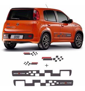 Faixa Novo Fiat Uno Vivace Sporting Adesivo Grafite Completo