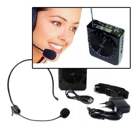 Megafone Amplificador Voz Microfone Professor Rádio Fm Mp3