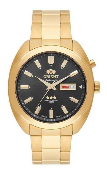 Relógio Orient Dourado Automatico Com Fundo Preto Masculino