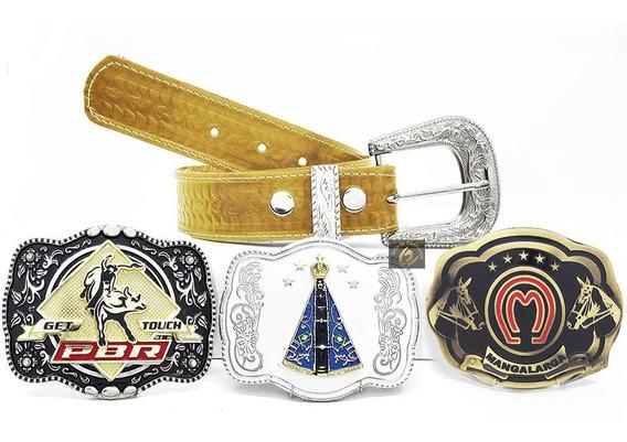 3 Fivelas Country Cowboy Especial + Cinto De Couro Legitmo