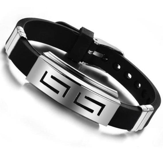 Bracelete Silicone & Aço Cirúrgico (frete Grátis)