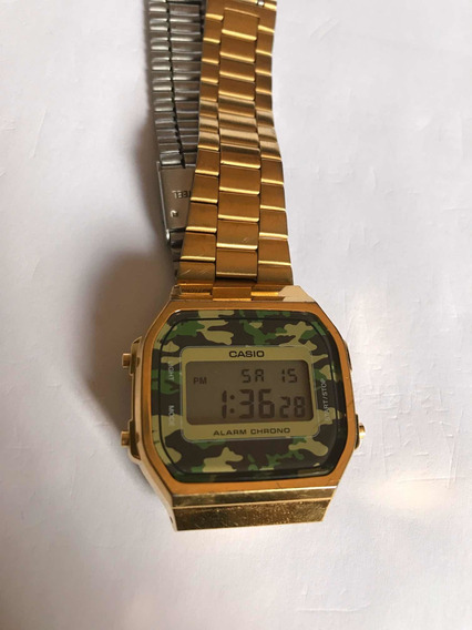 Relógio Casio Vintage Unissex Dourado Camuflado Original