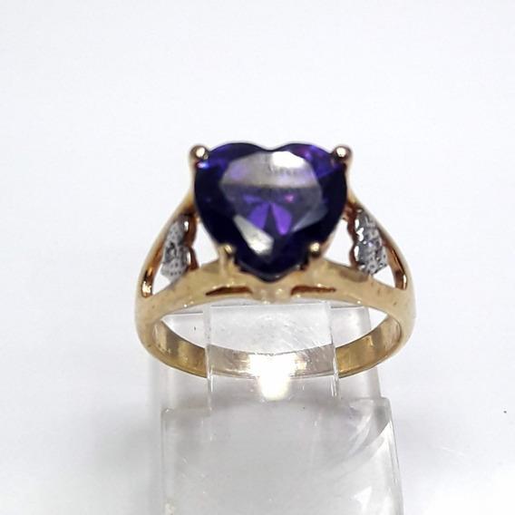 Anel Semi Joia Pedra Coração Folheado A Ouro 18k