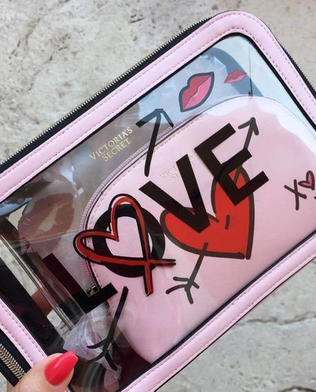 Set Portacosmeticos Victorias Secret Edicion Love X3 Trio