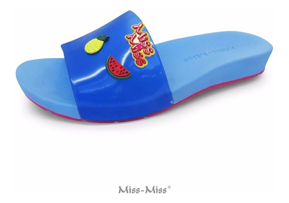 Chinelo Slide Feminino Infantil Azul Miss Miss
