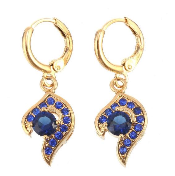 Brincos Feminino Safira Azul Ouro14kplated Formatura 170