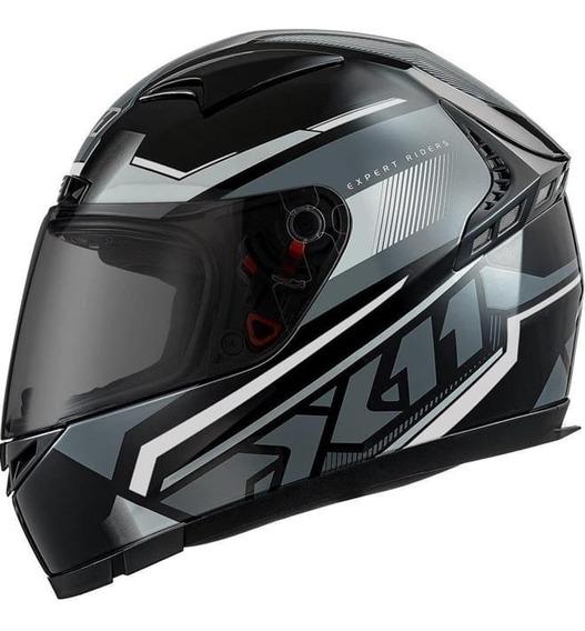 Capacete Esportivo X11 Volt Dash Preto Cinza Moto Fechado