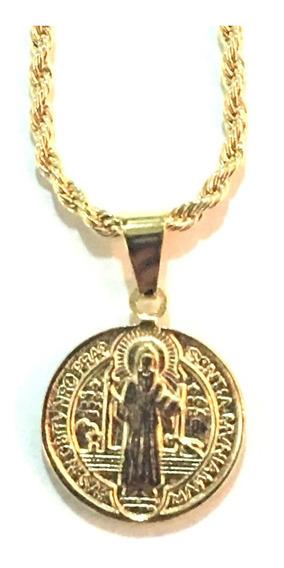 Colar Corrente 60cm Cordao Baiano Medalha Sao Bento