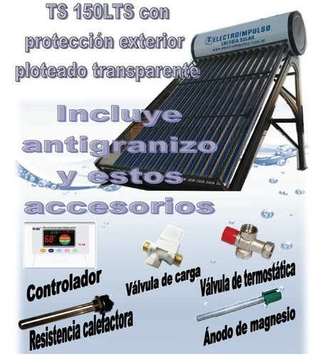 Imagen 1 de 6 de Termotanque Solar 150 Litros, Controlador, Mezclador, Resist