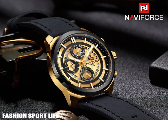 Relógio Naviforce Nf 9129 Luxo Pulseira Couro Social