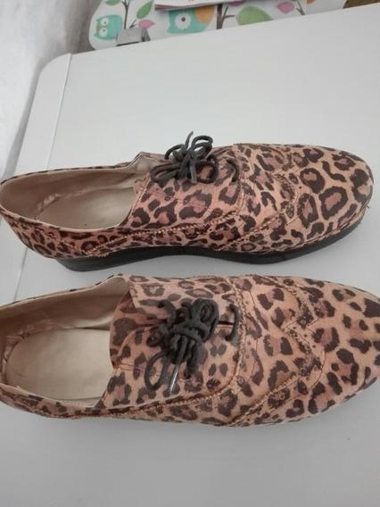 Zapatos Abotinados, Ecocuero, Animal Print, Talle38