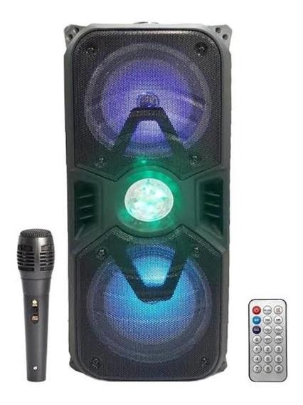 Caixa De Som Amplificada Bluetooth Led Equalizador E Rodinha