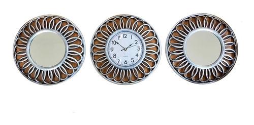 Imagen 1 de 5 de Reloj Pared Redondo Con 2 Espejos Mural Plateado 25cm