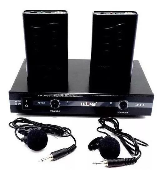 Kit Duplo Microfone De Lapela Transmissão Lelong Le-910