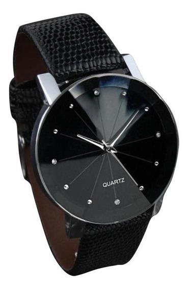 Bom Luxo Quartz Dial Couro Relógio De Pulso